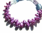 Purple Pearls, Unique Beaded Bracelet, Pearl and Kyanite Bracelet, Handmade Bead Bracelet