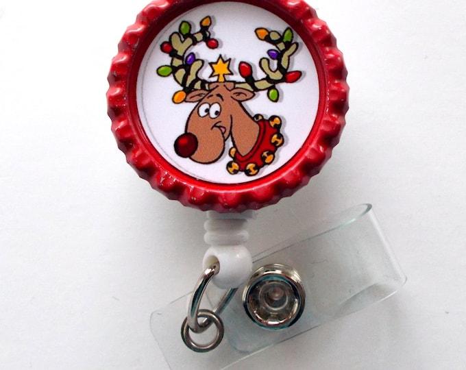 Reindeer in Lights  - Nursing Badge Holder - ER Nurse Badge Reel  - ER Name Badge - Nurses Badge - Cute Badge Reel