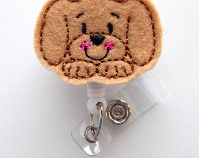Puppy Face  - Name Badge Holder - Cute Badge Reel - Nurse Badge Holder - Nursing Badge Clip - Teacher Badge Reel