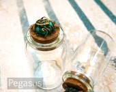 Emerald Green Gem potion bottle (2 pieces)(2.25 inches tall) Removable cork top glass vial for terrarium or message in a bottle (BT04)