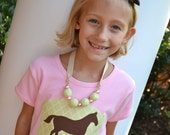 Girls Horse Pony Silhouette Applique Shirt in Pink and Green Great for Birthdays, Derby or Everyday
