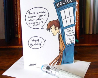 Doctor Who Birthday Card - Tenth Doctor - Timey-Wimey