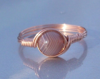 Red Botswana Agate 14k Rose Gold Filled Wire Wrapped Ring Custom Sized