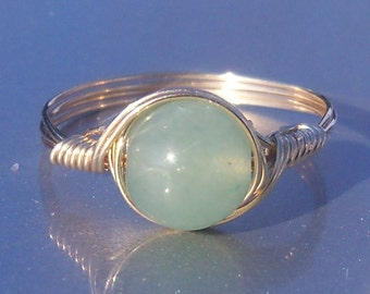 Large Green Aventurine Ring,  14k Gold Filled Ring, Wire Wrapped Large Stone Ring