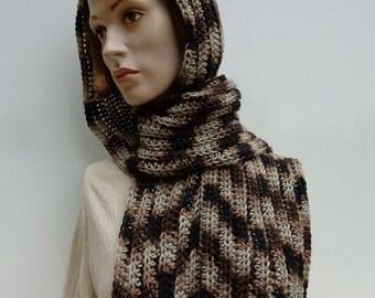 Platoon Pixie Hood - Browns Hooded Scarf - Crochet Hooded Scarf