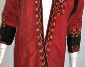 SALE antique 19 c turkish ottoman hand embroidered silk coat lined w/ floral cotton