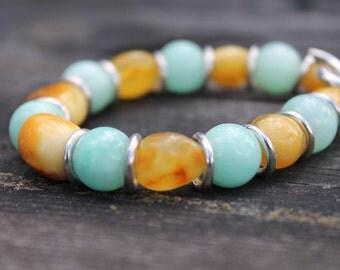 Blue Sky Jadeite Amber Bracelet /  Boho Jewelry / Yellow Mint Green / Bohemian Bead Bracelet / Gift for her / plus size bracelet / Toggle