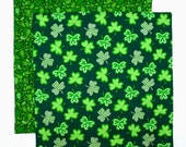 St Patricks Day Napkin, Green Irish Shamrocks, Kids Fabric Lunchbox Napkin, 1 double sided cloth napkin
