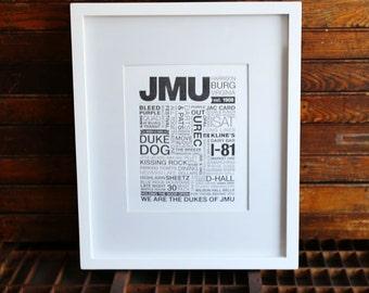 JMU Letterpress Print (Black Ink on White Paper)
