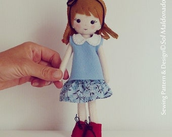 Doll Sewing Pattern - Vintage girl Pdf - felt doll pattern miniature hand sewn PHOTO TUTORIAL - Instant DOWNLOAD