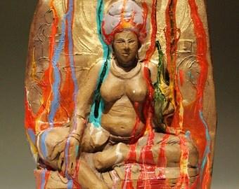 The Goddess Tara, Ceramic Bas Relief Figure Sculpture, Buddha Woman Wall Art Piece