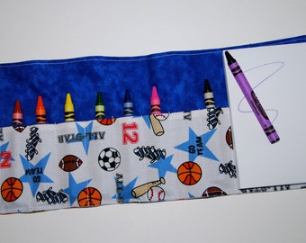 Crayon Roll Up - Holder - Organizer with Pad & Crayons - All Star Sports