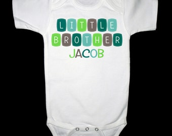 Personalized  Little Brother Shirt or Bodysuit - Blue, Green, Gray Design - Can be personalized with ANY name