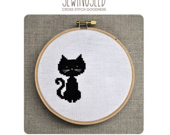 Small Black Cat Cross Stitch Pattern Instant Download