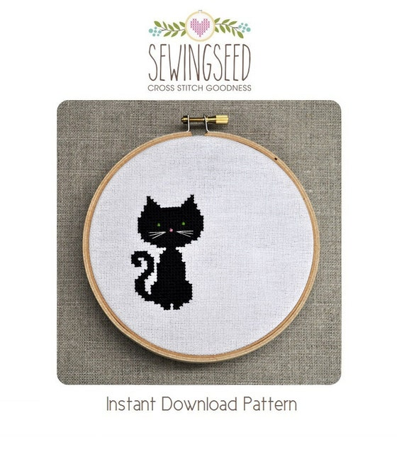 Small Black Cat Cross Stitch Pattern Instant Download