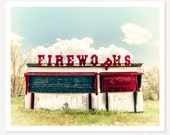 The 5th of July - Color Photograph - Fireworks Art Print - Retro Sign Photo - Summer Photography - Kids Nursery Art  - Country Rustic Decor