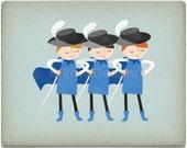 Three Muskateers Boys - Customizable 8x10 Archival Art Print