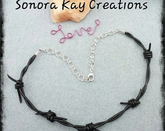 Barbedwire Leather Necklace Custom Custom Made to order in Brown or Black