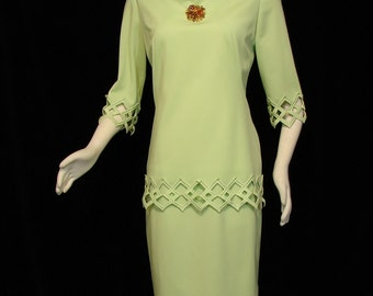 Dress - Bright Green - Circa 1960's - Claralura Original - California