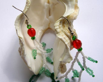 White, red and green beaded earrings, fall-winter 2014 collection