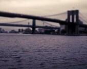 Brooklyn Bridge Photograph, Dark Purple, Black, New York Print, Archiecture, NYC Art, Men
