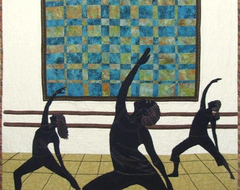 Large Quilted Wall Hanging with Silhouetted Dancers, One of a Kind