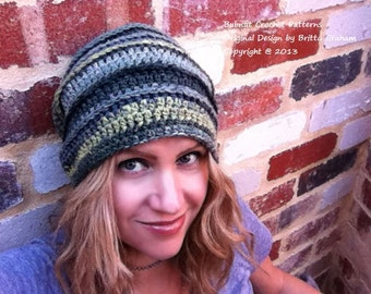 Easy Peasy Slouchy Hat Crochet Pattern No.309 Digital Download PDF