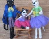 Needle Felted Animal, Cat Family, 3 Cats, Waldorf toy, white cat, black cat, family of 3, play set, felted toy, decoration, MADE to order