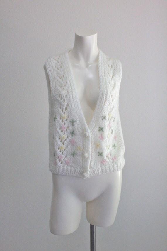 60's Floral Knit Vest Sz S/M