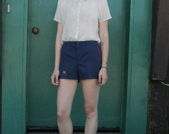 SALE / Vintage Australian Flag 1970's Navy Blue Track Shorts Hot Pants S/M