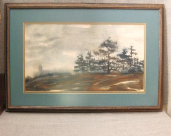 Vintage Landscape Watercolor Painting, Original Fine Art, C. Winterle, Signed, Pastel, Nature, Forest, Trees, Works on Paper, Framed