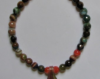 Rainbow Fire Agate Necklace