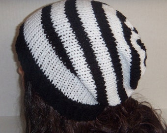 Slouchy Beanie Hat, Black and White Striped Beanie, Knitted Stripe Hat