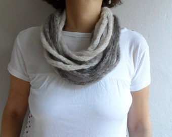 Infinity Scarf, Loop Scarf, Circle Scarf, Loop Cowl, Neckwarmer, Eternitiy Scarf, Beige Brown Scarf, Gift under 25