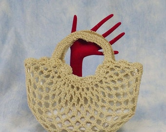 Vintage 50s 60s Clear Vinyl Handbag with Lucite Pull, Coiled Bead Overlay