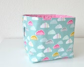 Reversible Fabric Basket - Pink, White & Yellow Clouds on Green