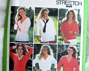 Simplicity 9044 1970s Misses Pullover Knit Tops Vintage Sewing Pattern Multi Size Pattern Bust 36