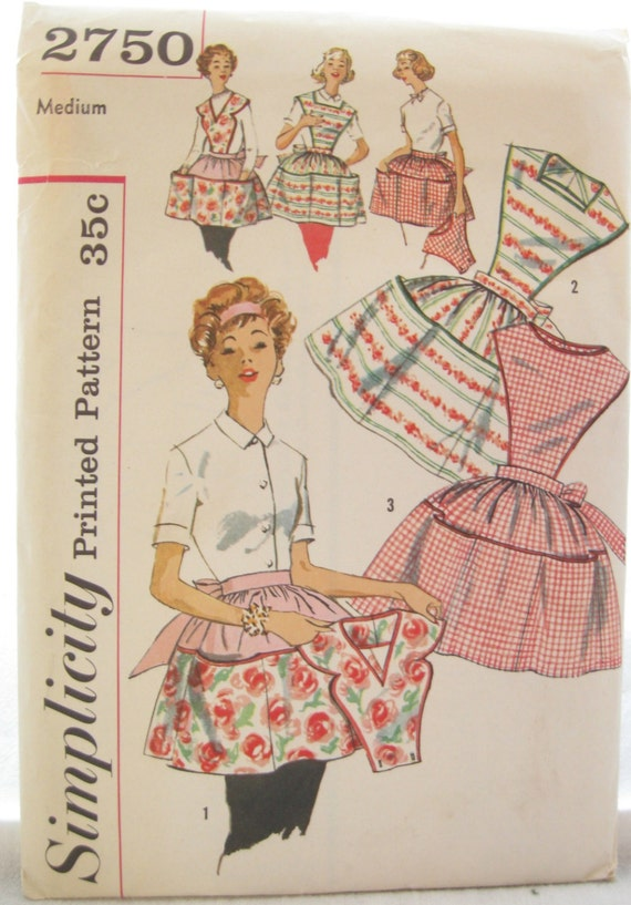 Simplicity 2750 Retro Vintage Half Apron with Pockets Sewing Pattern
