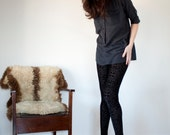 Night black leggings - geometric velvet burnout design, bohemian boho fashion for women - medium