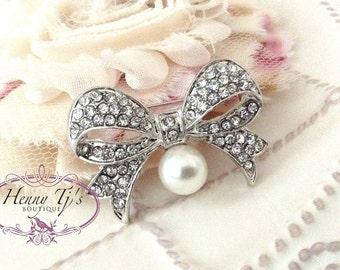 40mm Nickel Metal Plated BOW TIE Shape Rhinestone Brooch Pin. flower Embellishments - wedding / hair / dress / garment accessories