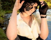 Halloween Mask Lace tattoo adheres to face