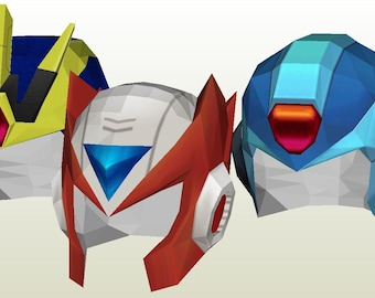 Megaman X Papercraft Patterns - All X & Zero Helmets - Cosplay
