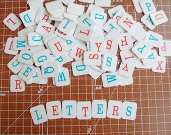 Vintage Alphabet Tiles set of 110 Tiles from 1988 Red and Blue Letters