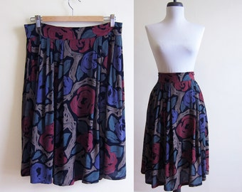 Vintage 1980s Skirt / AUTUMN FLORAL Rayon Circle Skirt / Size Large or Extra Large