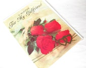 Retro Valentine's Day Card - 'A Valentine for My Girlfriend' Roses, Lace and Gold Hearts - Large Card