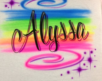 Airbrushed Personalized Rainbow Name T-Shirt Youth size XS S M L Adult S M L XL 2X Airbrush T Shirt