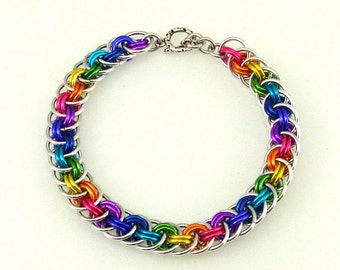Chainmaille Jewellery, Rainbow Viperbasket Chainmail Bracelet, small