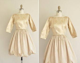 vintage 1950s dress / gold shimmery balloon dress / 50s party dress