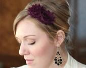 Eggplant Headband, Shabby Chic Style for Women and Girls