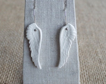 Porcelain Angel Wing Earrings, Bridal jewellery by Mrs Peterson Pottery